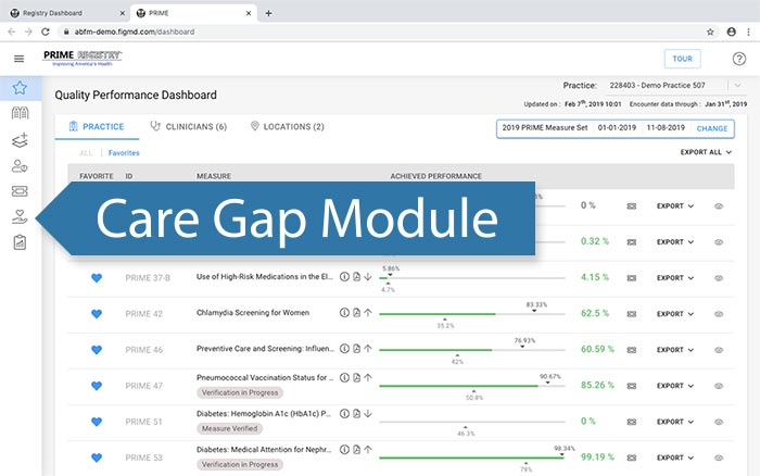 Access the Care Gap Module from the Dashboard