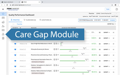 Screen Shot showing the location of the Care Gap Module in the Quality Performance Dashboard